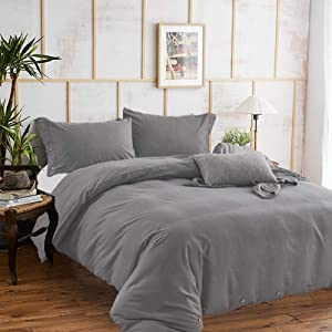 Gray King Duvet Cover Set,104x90 Soft Microfiber 3pc Set ( 1 cover 2 pillowcase ) with Zip Ties, Quilt Comforter Bedding Covers for Men Women - Mid-century Modern Rustic Farmhouse Bedroom Decor, Grey