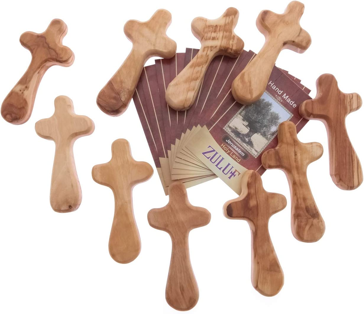 Zuluf 10 Medium Hand Crosses Wood Church Gifts with Certificates CRS108Z