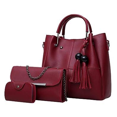 65161e132053 Amazon.com: Aelicy Women 3Pcs/Set Handbags PU Leather Shoulder Bags ...