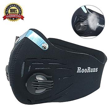 Polvo Máscara, rooruns Running máscara de carbón activado de filtración Escape anti alergia al polen