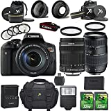 Canon EOS Rebel T6i 24.2MP DSLR Camera with Canon EF-S 18-135mm f/3.5-5.6 IS STM Lens + Tamron 70-300mm AF Lens + 2pc 32GB SD Cards + Auxiliary Lens Kit + Flash + 6pc Filter Kit + Case