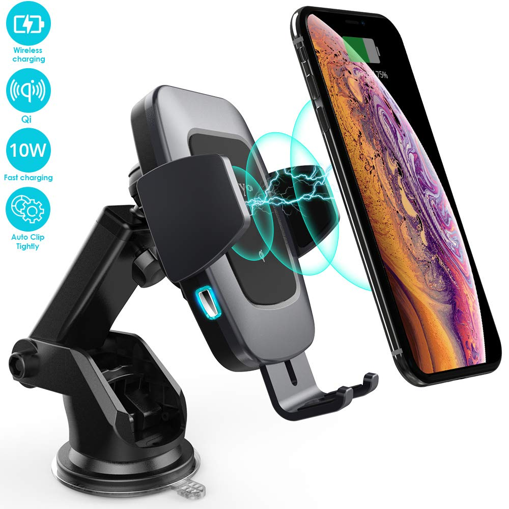 Heiyo Wireless Car Charger, Automatic Clamp Car Phone Holder Qi Charging Cradle 10W/7.5W Fast Charging Compatible for Samsung S10/S9/S9+/S8/Note 8, iPhone Xs Max//Xs/XR/X 8/8 Plus, LG V30(Black)