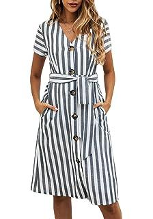 2dc323ca4c9 PRETTYGARDEN Women's Summer Striped Short Sleeve V Neck Button Down Belted  Swing Midi Dress with Pockets