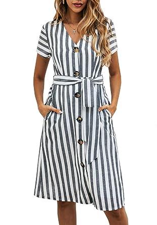 7688de2e3e8 PRETTYGARDEN Women s Summer Striped Short Sleeve V Neck Button Down Belted  Swing Midi Dress with Pockets