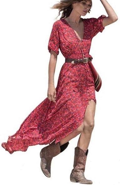 Huihui Femme Boheme Robe Chic Longue Col V A Fleur Manches Courtes Chic Pas Cher Robe Maxi De Plage D Ete Casual Soiree Tunique Jupon Amazon Fr Vetements Et Accessoires