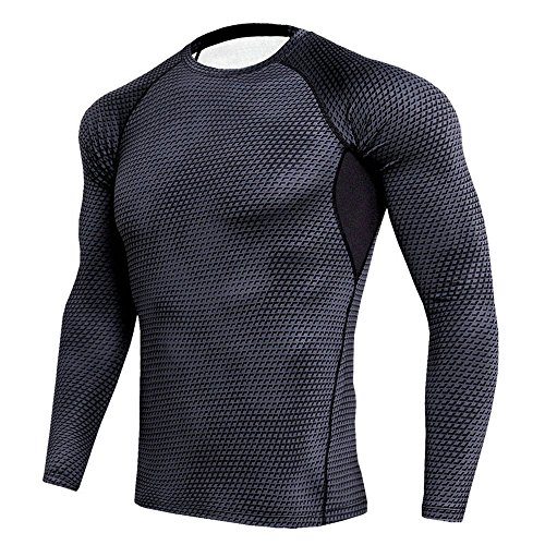MAGE MALE Men's Training Compression Sport Running Cool Dry Base Layer Long Sleeve Tops