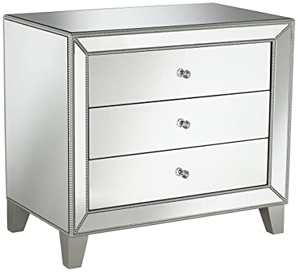 Studio 55D Liza 3 Drawer 30u0026quot; Wide Mirrored Accent Table