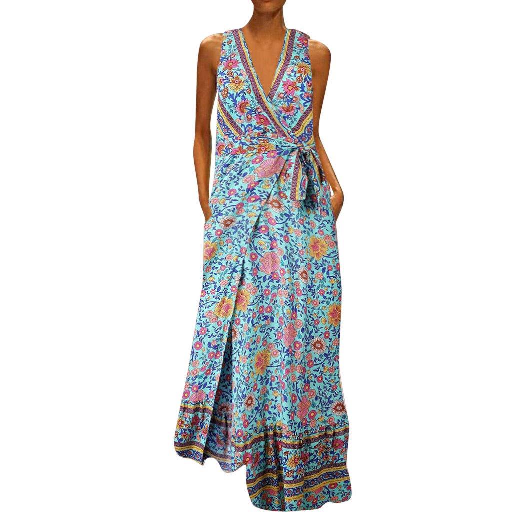 TOTOD Dress for Women Elegant Floral Print Long Dresses Sleeveless V-Neck Loose Party Maxi Sundress Blue