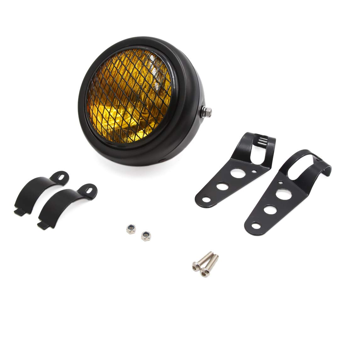 uxcell Black 12V 30W Yellow Light Round Shaped Headlight Head Lamp for Motorcycle