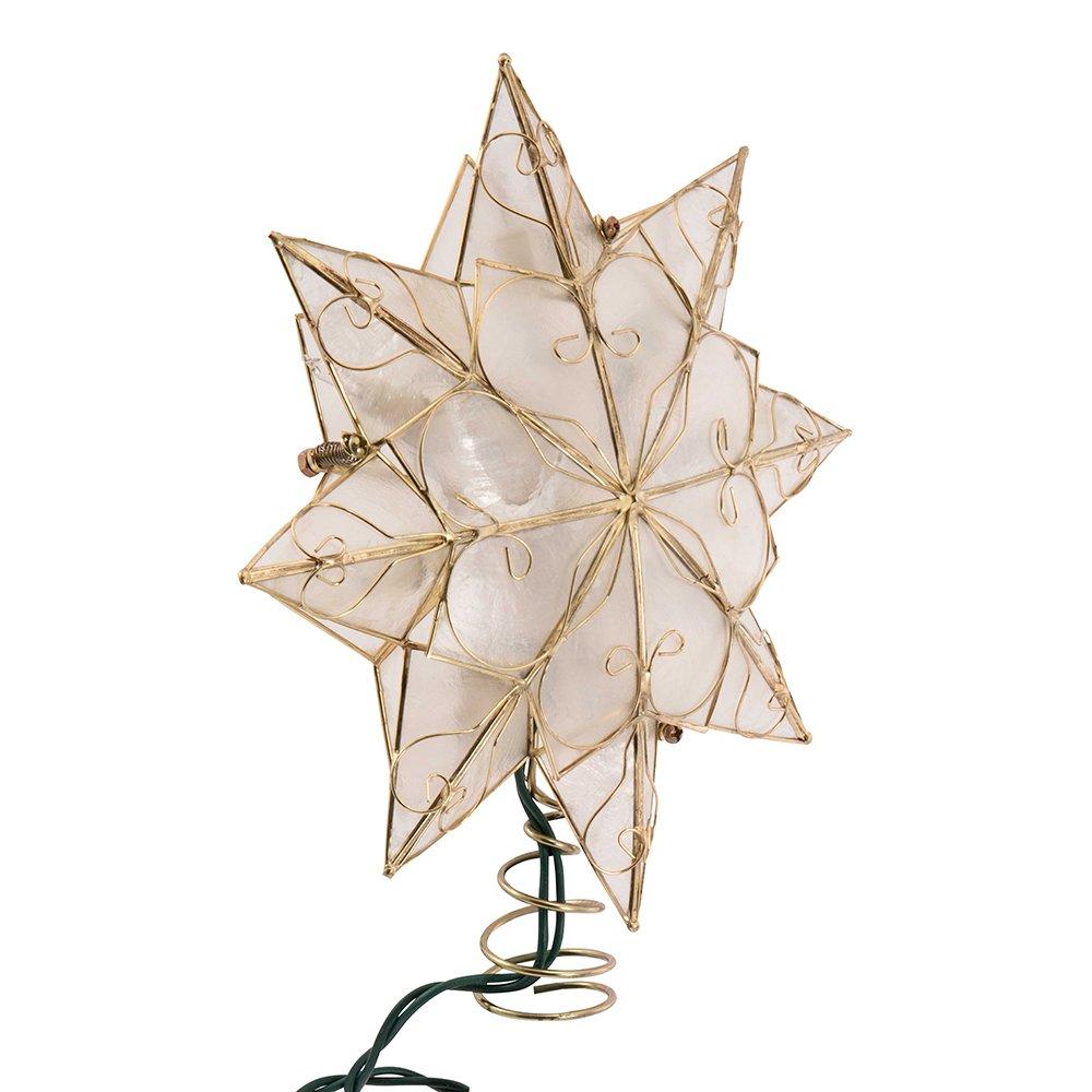 Kurt Adler Indoor 10 Light 8-Point Capiz Star Treetop with Arabesque Decoration UL0271