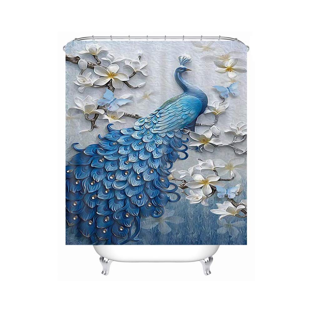 Lanburch European Style Fabric Shower Curtain Liner Stall Waterproof Peacock Bath Curtain with Hooks 72x72 Inches