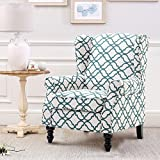 Harper & Bright Designs Wingback Modern Accent Chair Fabric Upholstered Arm Chair (white and green)