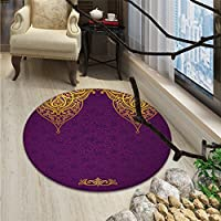 Purple small round rug Carpet Eastern Oriental Royal Palace Patterns with Bohemian Style Art Traditional WeddingOriental Floor and Carpets Purple Gold