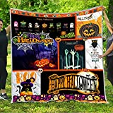 halloween Quilt Pattern Blanket All-Season Quilts Comforters with Reversible Cotton King Queen Full Twin Size Quilted Campers Gifts RV Camping Lovers