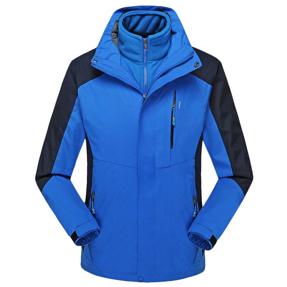 Zhhlaixing Herren Windbreaker  Herren Boys 3 in 1 Winter Warm Fleece Waterproof Activewear Sportwear Camping Windbreaker Rainwear Raincoat Detachable Hoodie Coat