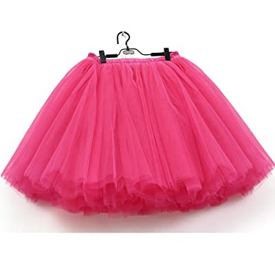 7 Layers Dance Tutu Tulle Skirts Women's Above Knee Mini High Waist Petticoat
