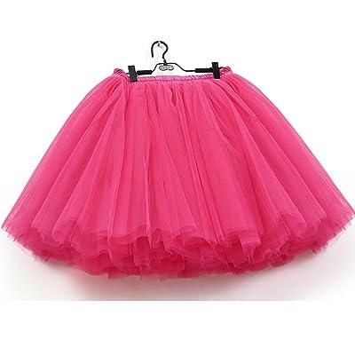 7 Layers Dance Tutu Tulle Skirts Women's Above Knee Mini High Waist Petticoat