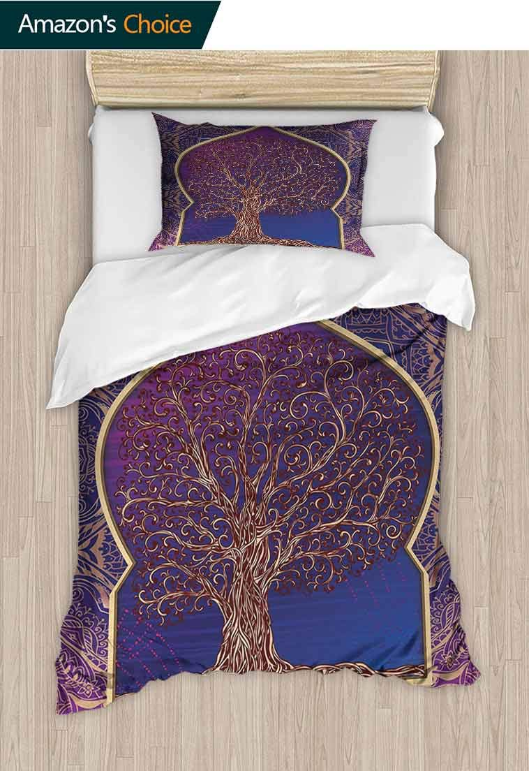 Printed Quilt Cover and Pillowcase Set, Tree with Curved Leafless Branches Middle Moroccan Arch Retro Art Design, Decorative 2 Piece Bedding Set with 1 Pillow Sham, 47 W x 59 L Inches Purple Blue