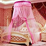 Mosquito bed net | Large screen netting bed canopy circular curtain | Keeps away insects & flies | Home & travel-pink 120x200cm(47x79inch)