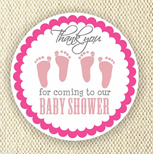 Twin Baby Girl Shower Stickers - Twin Girls Stickers - Favor Stickers - Baby Shower Favor Stickers - Baby Footprint Stickers - Set of 40 stickers from Philly Art & Crafts