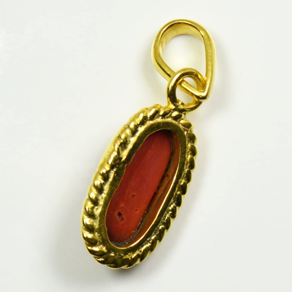 Jewelryonclick Genuine Capsule Coral 3 carat Copper Gold Plated Pendant Charms