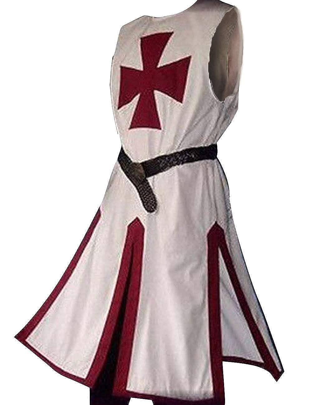 Mens Medieval Crusader Knights Templar Surcoat Cloak Renaissance Warrior Cosplay Costumes