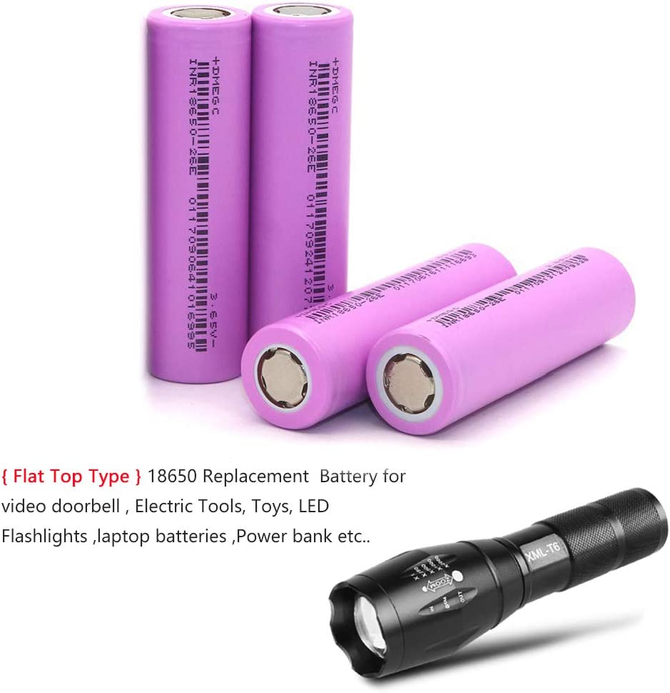 LED Torch Kit 4-Pack 18650 2600mAh Rechargeable 3.7V Flat top Battery