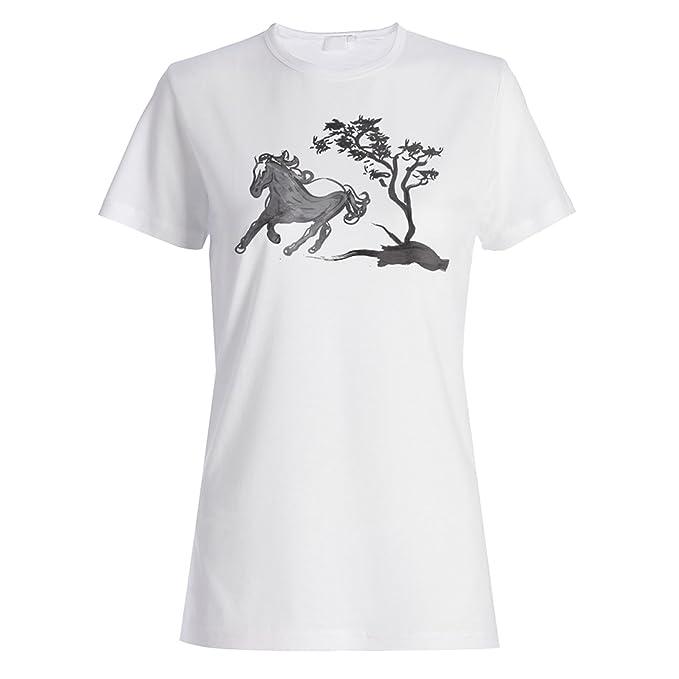 Arte De Tinta Japonesa Caballo camiseta de las mujeres p388f: Amazon.es: Ropa y accesorios
