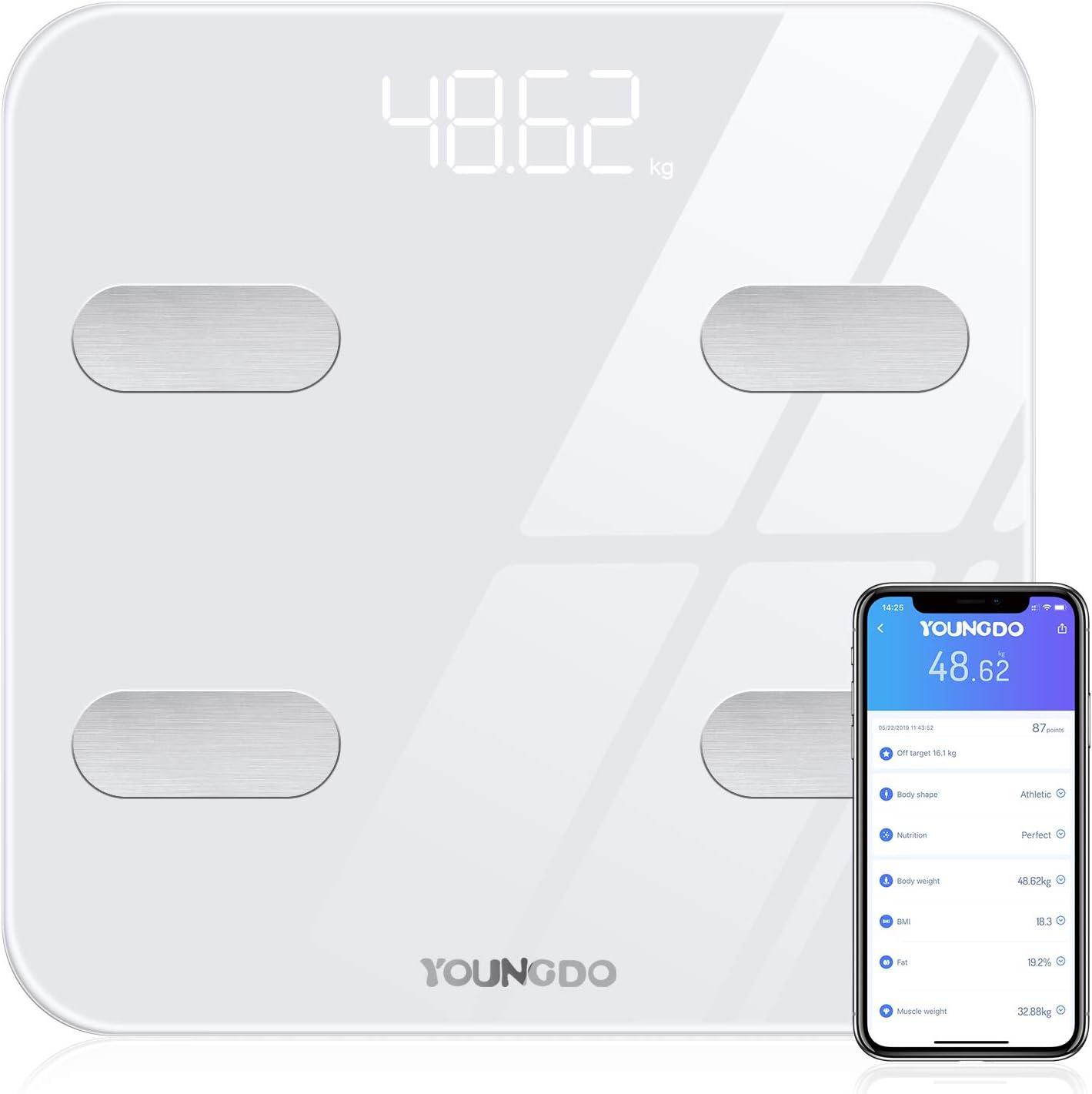 Báscula Grasa Corporal, YOUNGDO Báscula de Baño Bluetooth hasta 180 kg con 19 Datos del Cuerpo para 8 Usuarios (Peso, Grasa, Músculo, Agua, etc.) Blanco