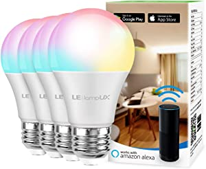 Smart LED Light Bulbs, LampUX WiFi Bulbs, Compatible with Alexa and Google Home, Color Changing Light Bulbs, Dimmable with App, A19 E26, 60 Watt Equivalent, No Hub Required (Pack of 4)
