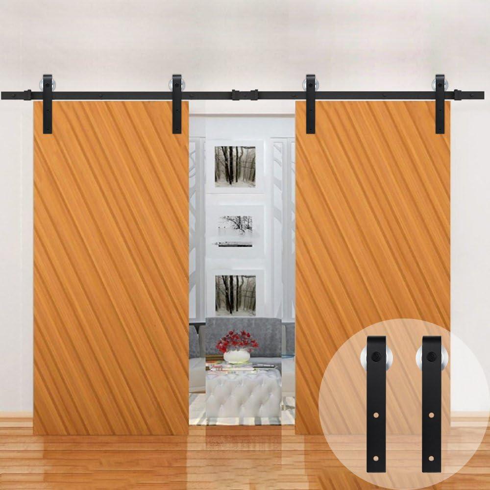 Kit de rodillo de aluminio winsoon vía única puerta corrediza de granero Hardware armario mueble de madera estilo antiguo Negro para puerta: Amazon.es: Bricolaje y herramientas