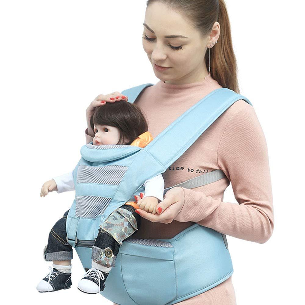 Edelehu Gehen Sie Baby-Träger Atmungsaktives Mesh-Tuch Reisen Baumwolle Baby-Träger Komfortabel und Ergonomisch Kind und Neugeborene Sling Multi-Position Tragen Sling Wathet Farbe