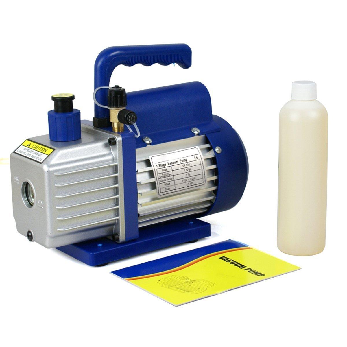 Smartxchoices 4 CFM Electric Single-Stage Rotary Vane Deep Vacuum Pump & 1/4HP HVAC A/C Refrigeration Kit AC Manifold Gauge Combo Set R410a/R134a (4 CFM Vacuum Pump)