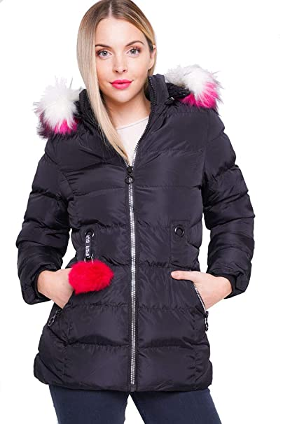 c4299a2941b92 Girls Padded Coat Showerproof Parka Jacket Faux Fur Age 3 5 7 8 9 10 11