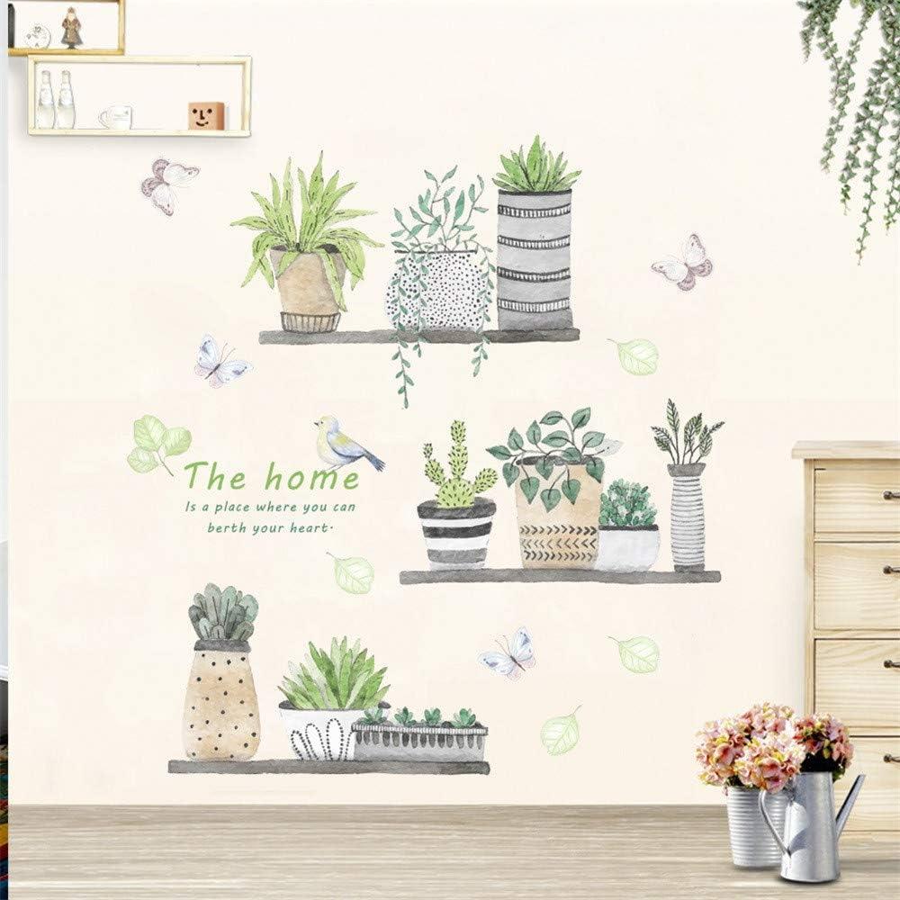 Sencillo Vida Cactus Pegatinas de pared vinilo adhesivo decorativo para las niñas habitación de niño Wall Stickers salón dormitorio TV fondo Inicio (A (30x90cm))