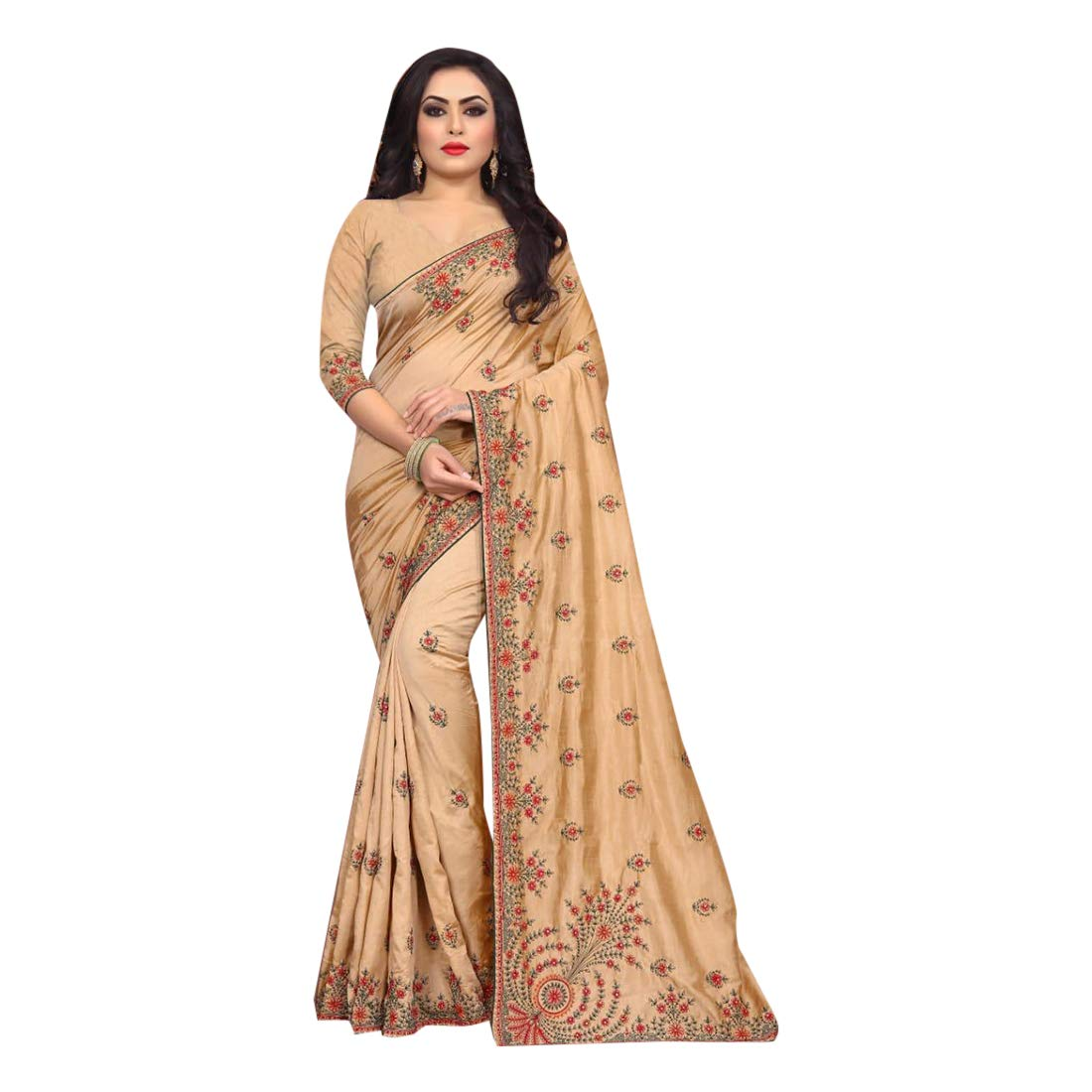 Beige Indian Rich Silk Sari with Stylish Blouse for Women Festive Party wear Designer Saree 7580