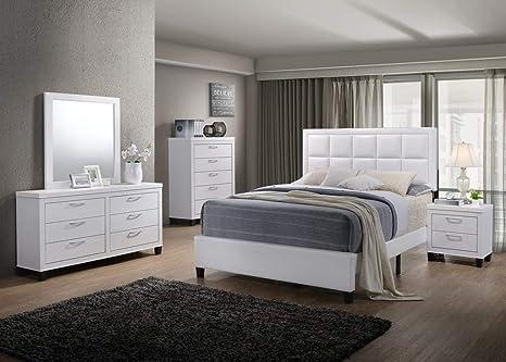 Amazon.com: GTU Furniture Contemporary Styling White 5Pc ...