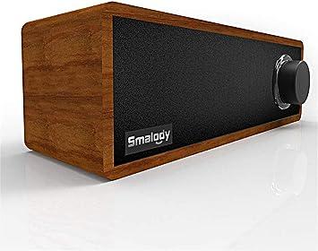 Barra De Sonido para TV Altavoz De Efecto De Sonido Estéreo 3D con Perilla LED Bluetooth 5.0 Altavoz De Madera Portátil Mini Inalámbrico Adecuado para Uso Doméstico Y De Oficina Gris: Amazon.es: