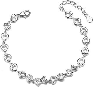 SHEGRACE Bracciale in argento sterling 925, con zircone cubico AAA, cuore, gioielli da donna, regalo di festa, regalo donna/ragazza