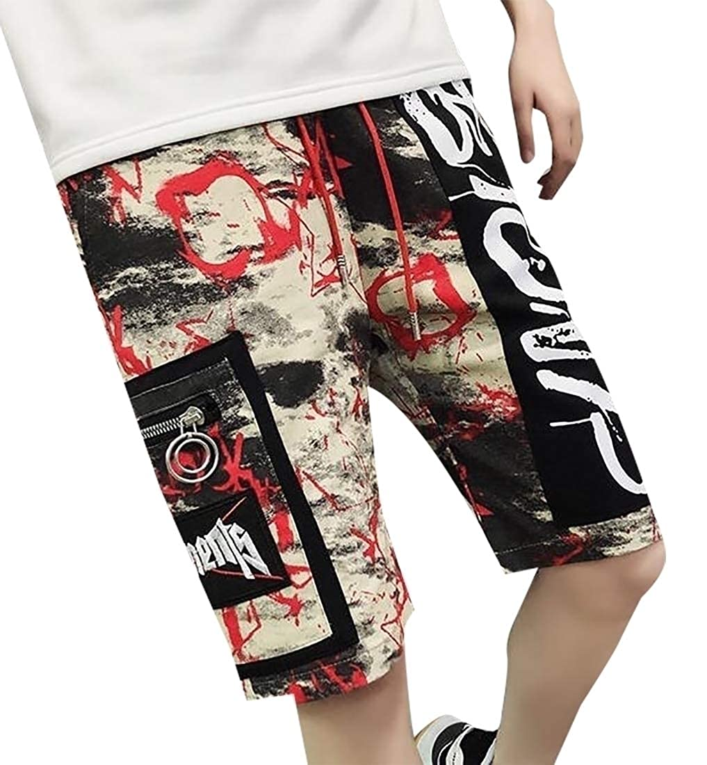 YY-qianqian Mens Drawstring Camouflage Slim Swimming Fashion Straight Beach Shorts