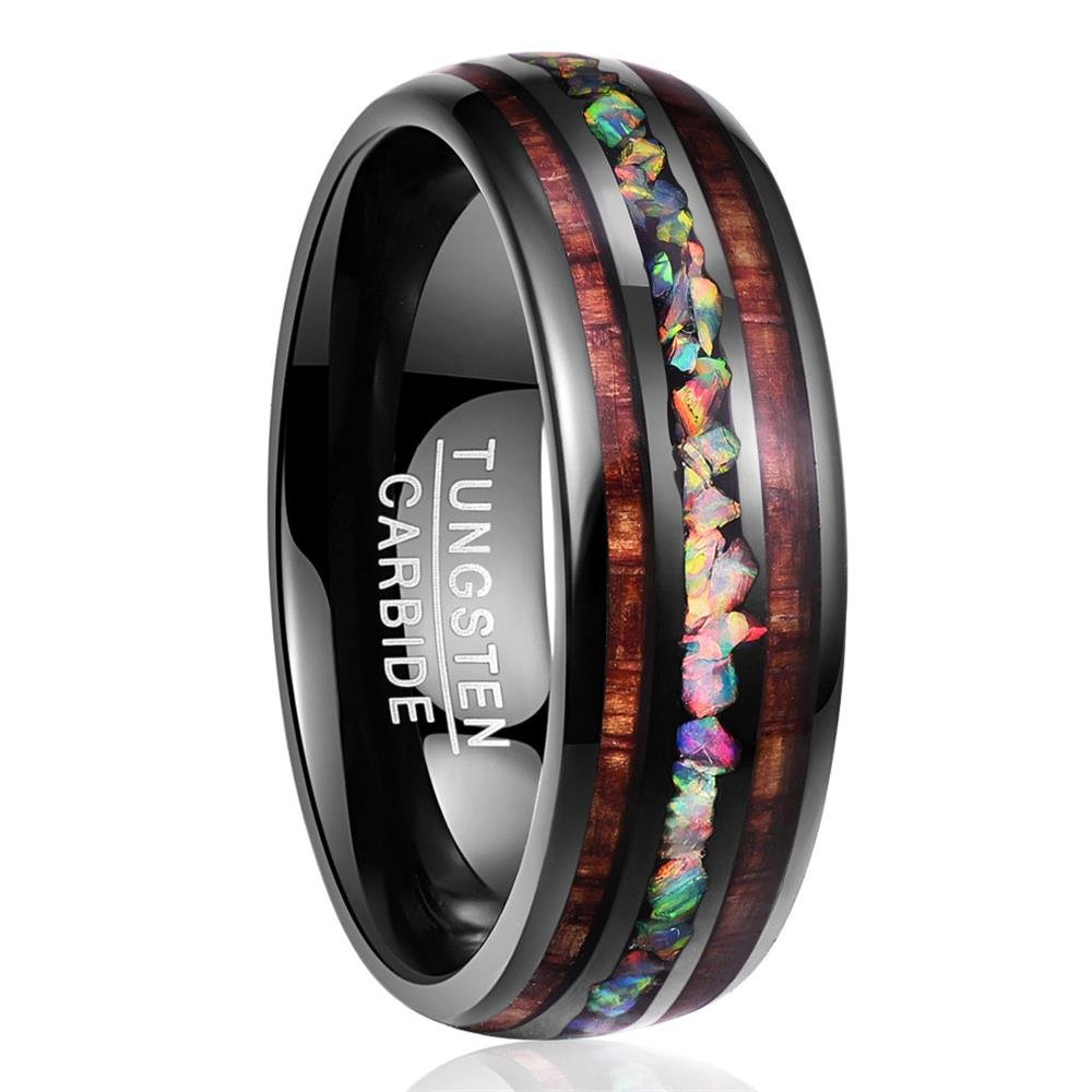 Nuncad Handmade Genuine Crushed Fire Opal Tungsten Wedding Ring with Hawaii Koa Wood Domed Black 097R