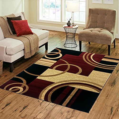 "(Golden Rugs Platinium Collection 500,000 Thread count Soft Black-Dark Red Hand Carved – Modern Contemporary (5'2"" x 7'5"") Floor Rug with Premium Fluffy Texture for Indoor Living / Dining room)"