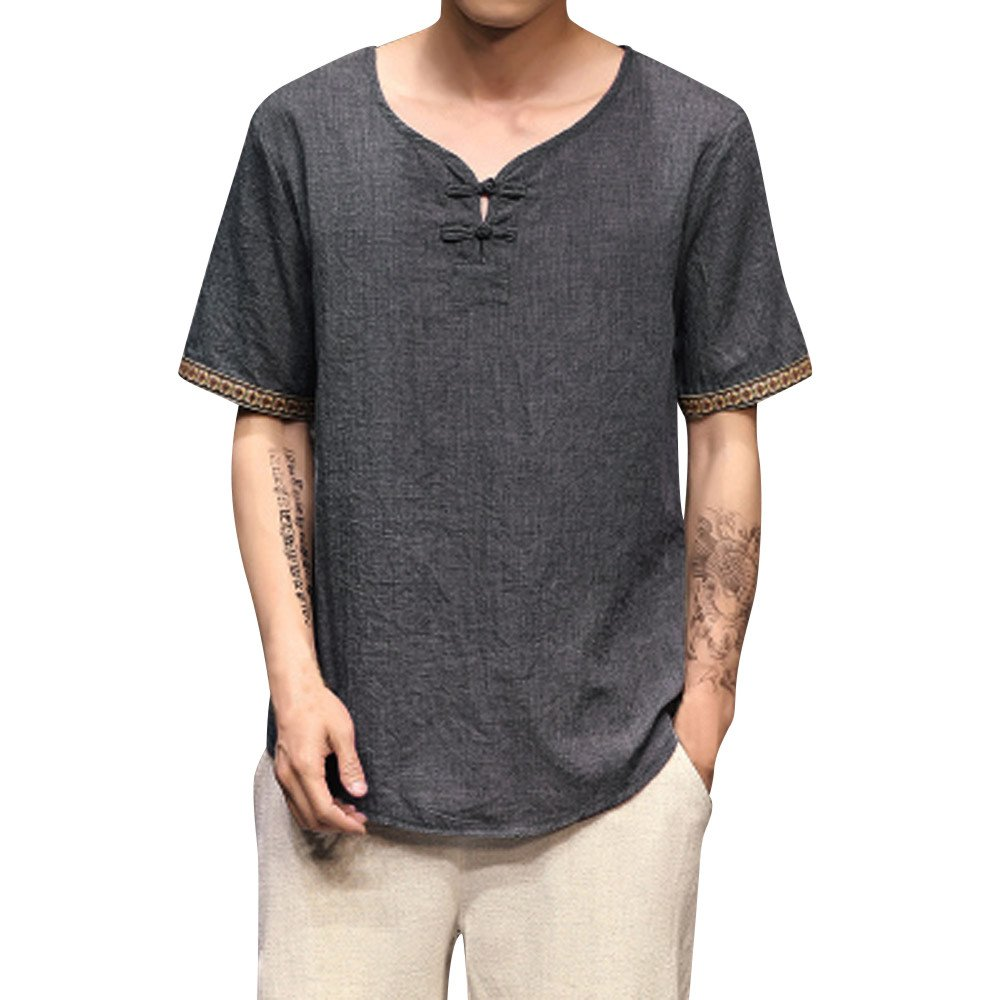 Goddessvan 2019 Mens Shirt Casual Traditional Linen Shirts Short Sleeve V Neck Loose Tops Blouse