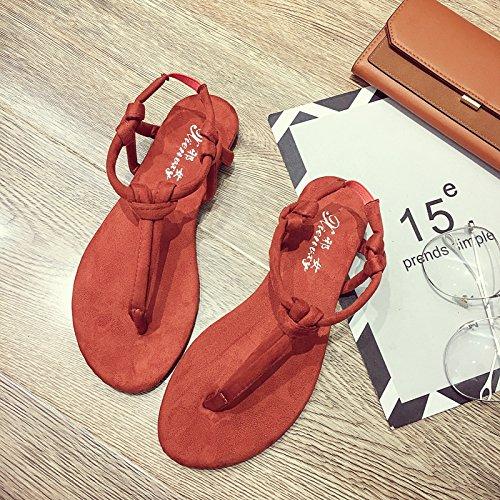 brown di pesce a scarpe studente estate spina semplice Red all'aperto selvaggio ITTXTTI scarpe a Ms clip Roma sandali TfBq1