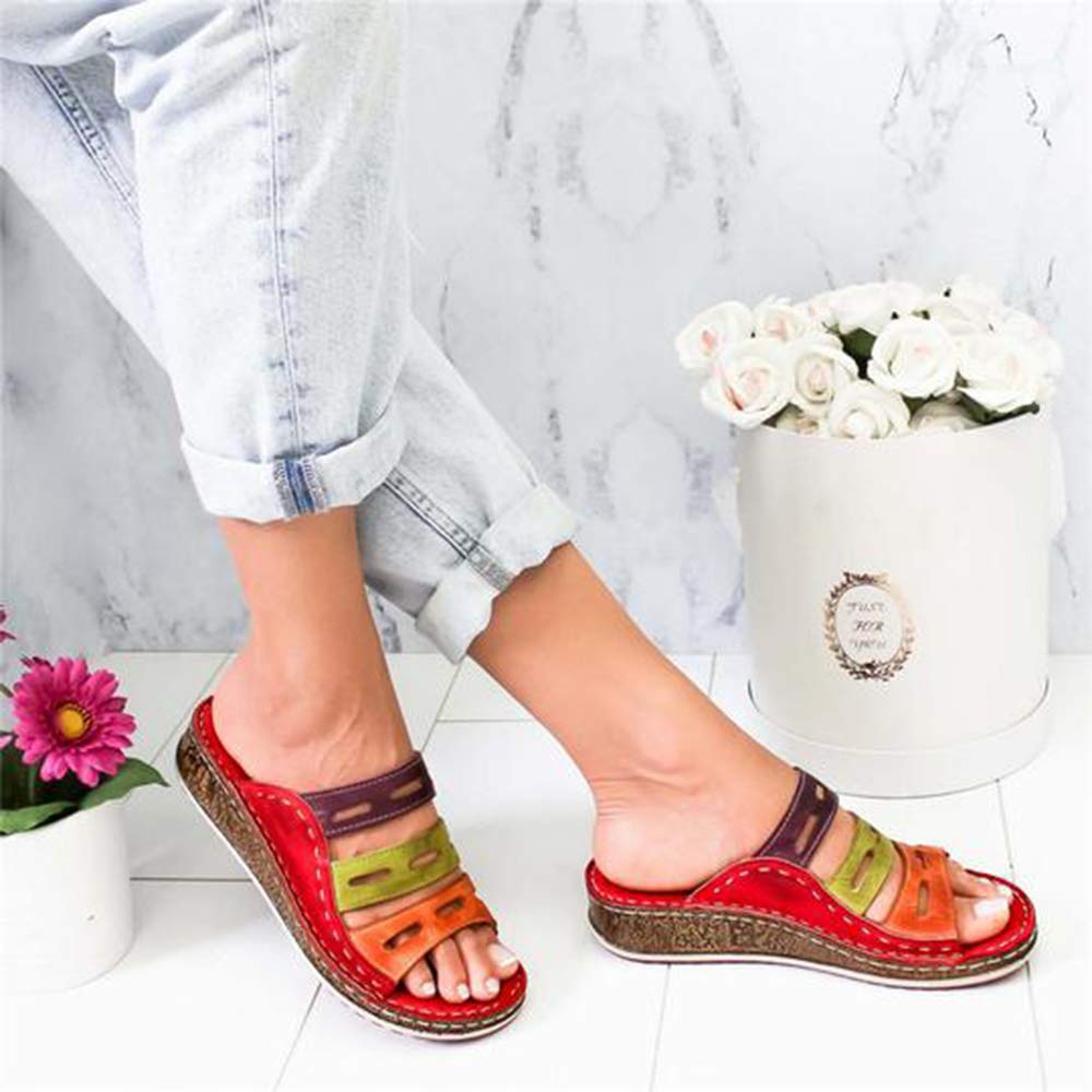 laamei Tongs Femme Compens/ées Flip Flops Fille Et/é Chaussures de Plage /à Talons Pantoufles Boh/ème Plateforme Sandales et Piscine