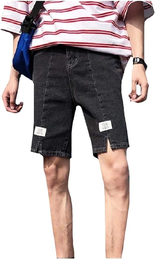 EnergyWD メンズスタイリッシュスプリットリラックスフィットデニムパンツジーンズパッチミディショートパンツ