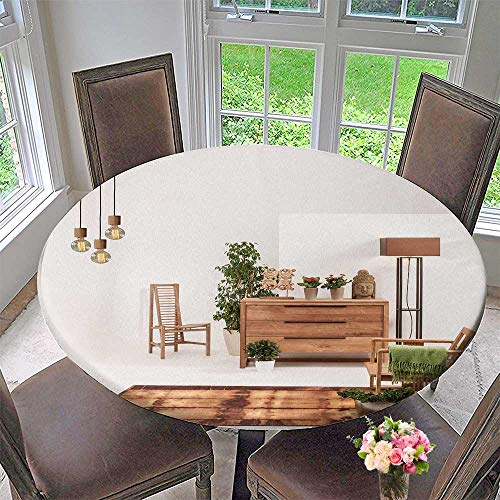 PINAFORE HOME Round Premium Table Cloth Natural Wood Furniture White wdecor lamp Perfect for Indoor, Outdoor 31.5