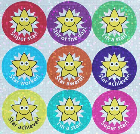 1.1 Inch (28mm) Sparkly Star Stickers - mixed captions, pack of 54