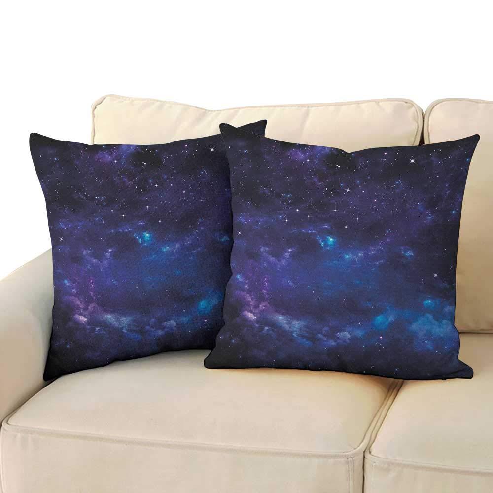 "RenteriaDecor Sky,Decorative Pillowcase Space Illustration Night Time Universe Stars and Nebulas Distant Parts of Galaxy 18""x 18""x2 Pillow Covers Purple Blue Black"