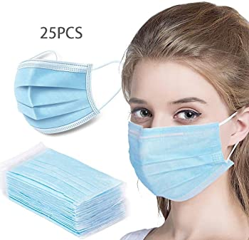 25-Pack Livinh Disposable Filter 3 Ply Earloop Comfort Dust Mask